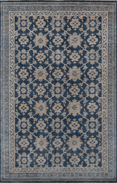 Traditional Hand Knotted Blue Rug