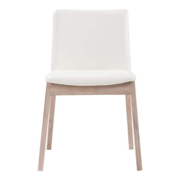 Deco Oak Dining Chair White Pvc-Set Of Two