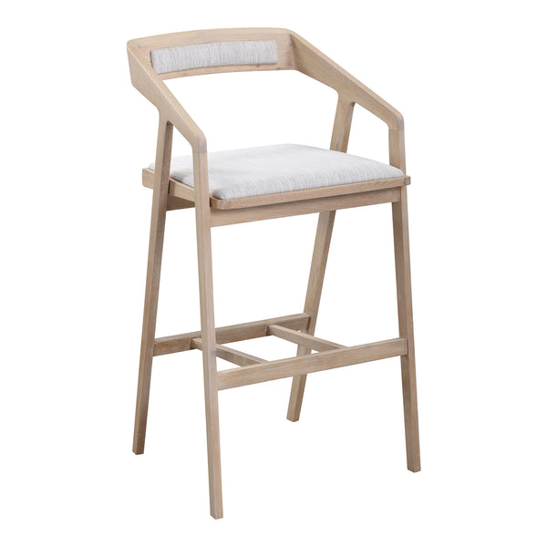 Padma Oak Bar Stool Light Grey