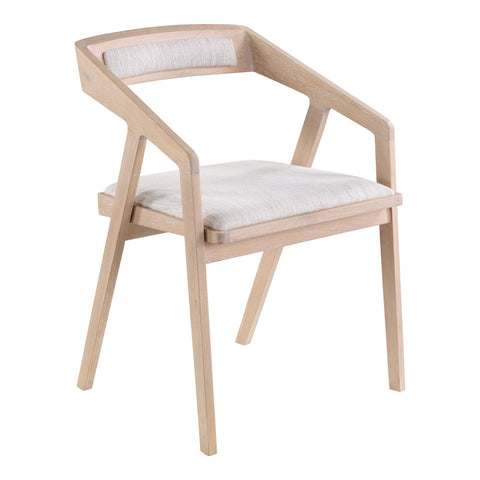 Padma Oak Arm Chair Light Grey