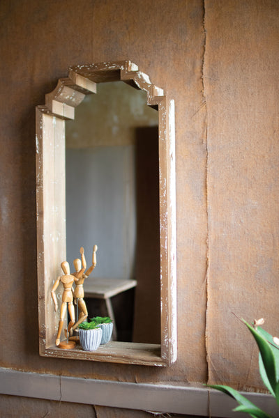 Tall Recycled  Wood Mirror
