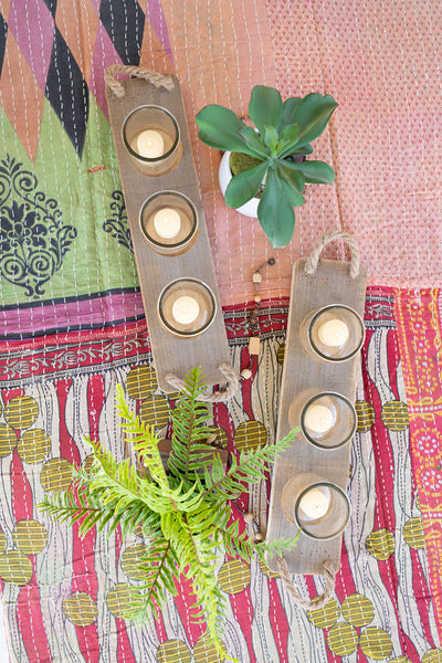 Three Glass Candle Holders On A Recycled Wooden Base