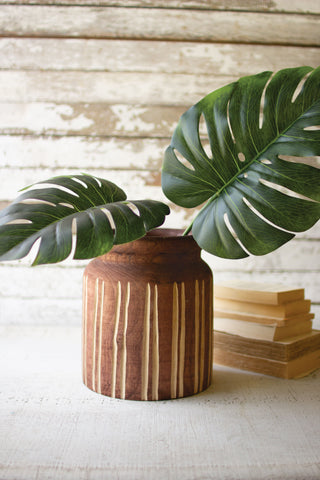 Rust Wood Vase With Vertical Line Carving