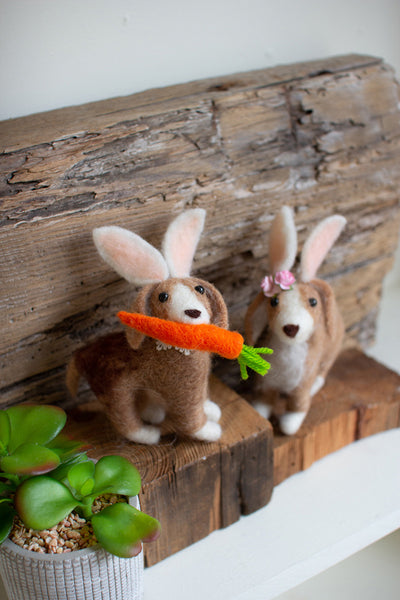 Set Of Two Felt Dogs With Rabbit Ears