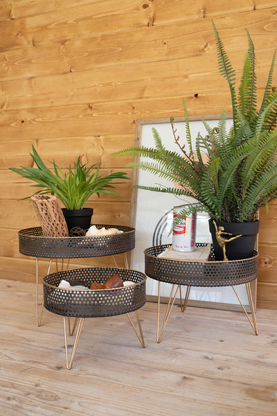 Set Of Three Round Perforated Metal And Wood Risers