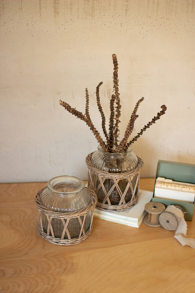 Set Of Two Wicker Wrapped Glass Vases