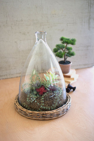 Large Glass Cloche With Wicker Base