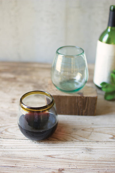 Stemless Wine Glass With Amber Rim
