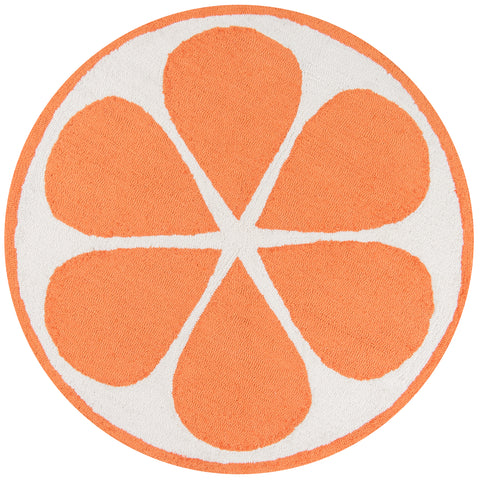 Hand Hooked Orange Indoor Rug