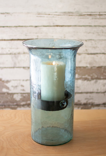 Original Smoked Glass Candle Cylinder With Rustic Inserts  -  Medium