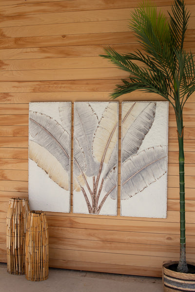 Pressed Tin Triptych Banana Leaves Wall Art
