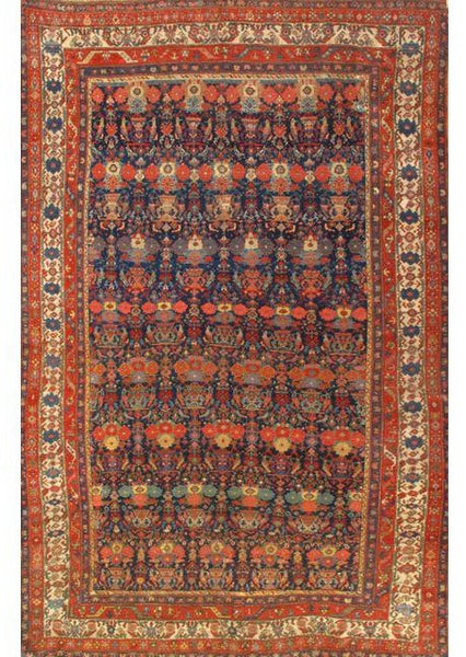 Hand-Knotted Antique Bidjar Wool Area Rug