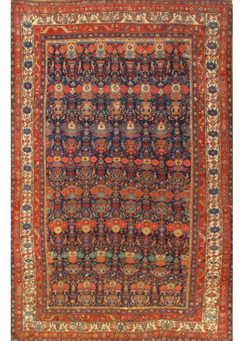 Hand-Knotted Antique Navy Bidjar Wool Area Rug