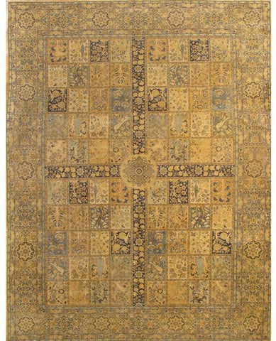Hand-Knotted Antique Persian Tabriz Gold Rug