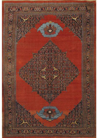 Hand-Knotted Antique Bidjar Lamb's Wool Rug