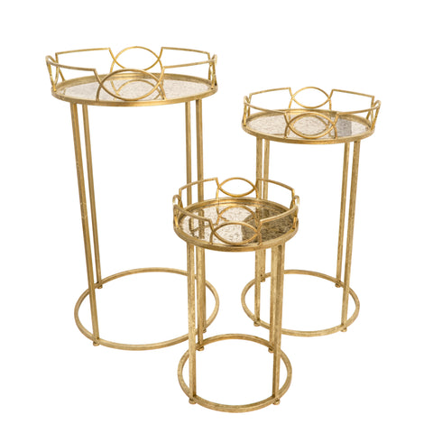 S/3 Gold Accent Tables, Aged Mirror Top