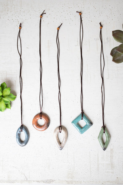 Set Of Five Clay Lenca Clay Necklaces