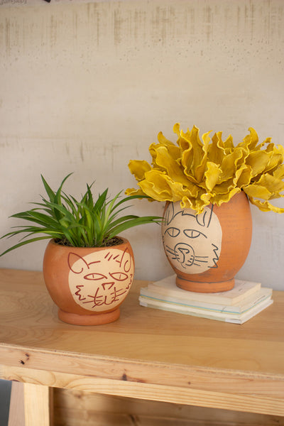 Set Of Two Clay Abstract Cat Face Pots