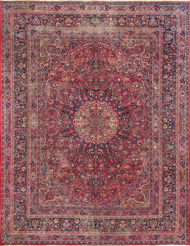 Antique Mashad Collection Hand-Knotted Wool Area Rug