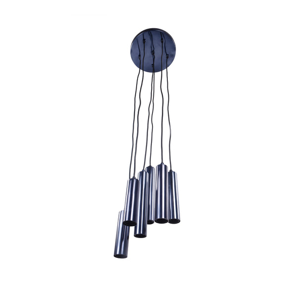 Tubular Led Pendant Lamp Carbon Blue Set Of Six