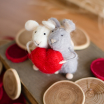 Set Of Two Felt Mice With Heart