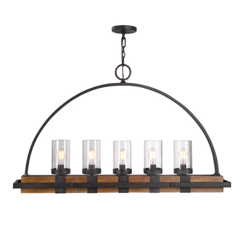 Atwood 5 Light Rustic Linear Chandelier