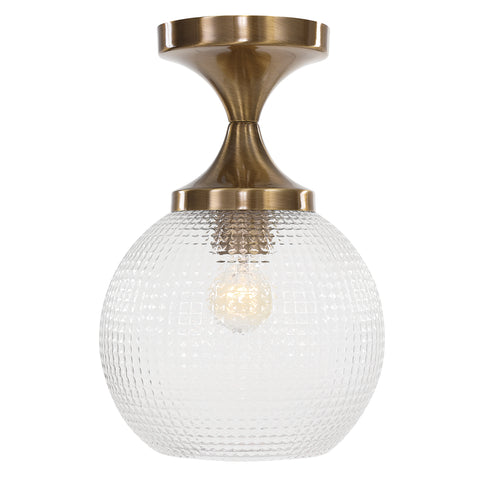Bolla 1 Light Pattern Glass Semi Flush Mount