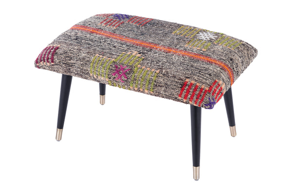 Bosphorus Collection Vintage Kilim Cover Ottoman