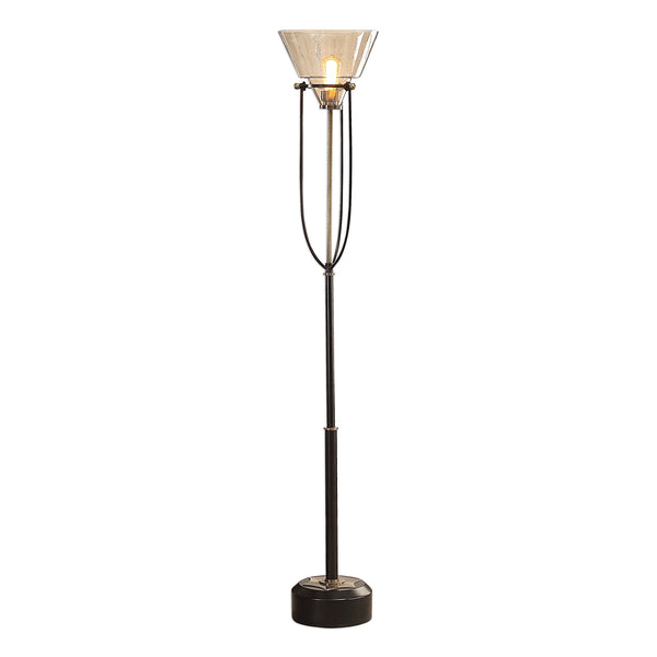 Amaleeda Amber Glass Floor Lamp