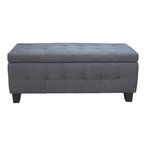 Gretchen Storage Bench Grey Fabric