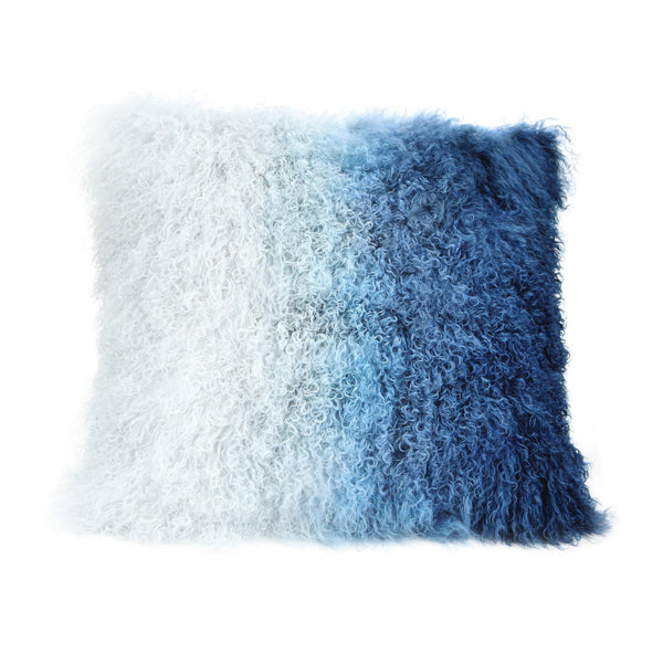 Lamb Fur Pillow Blue Spectrum