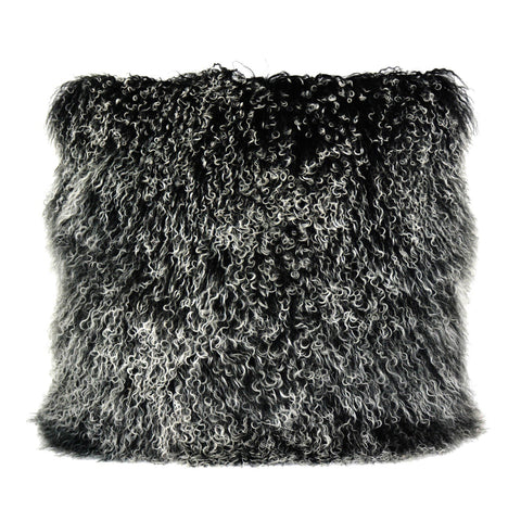 Lamb Fur Pillow Large Black Snow