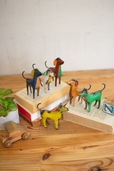 Set Of Six Recycled Metal Dogs