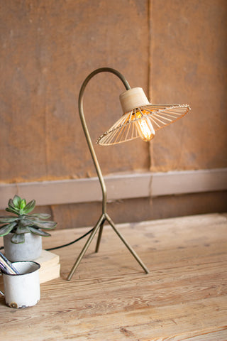 Antique Brass Finish Table Lamp With Rattan Umbrella Shade