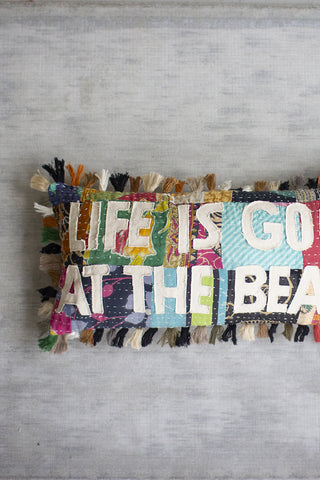Life Is Good At The Beach Kantha Pillow