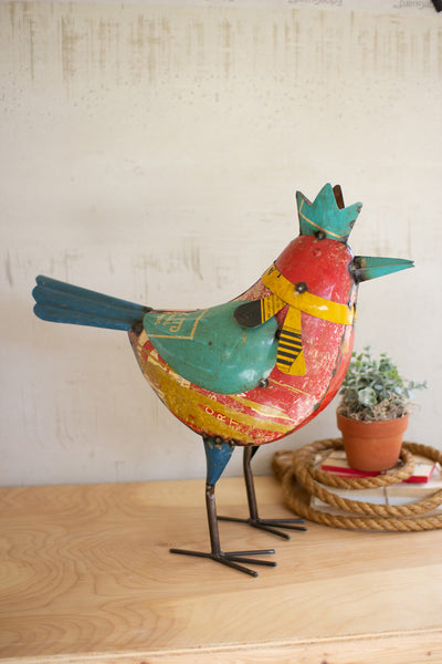 Recycled Metal Bird With Crown