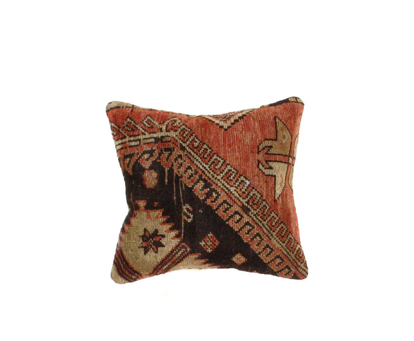 Vintage Hand-Knotted Turkish Rust/Black Pillow