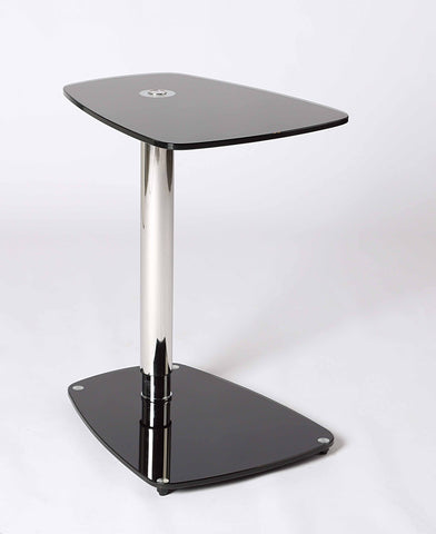 Adjustable Height Black Glass Table