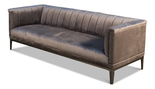 Dark Grey Velvet Cube X 3 Sofa