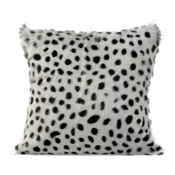 Spotted Goat Fur Pillow Light Grey