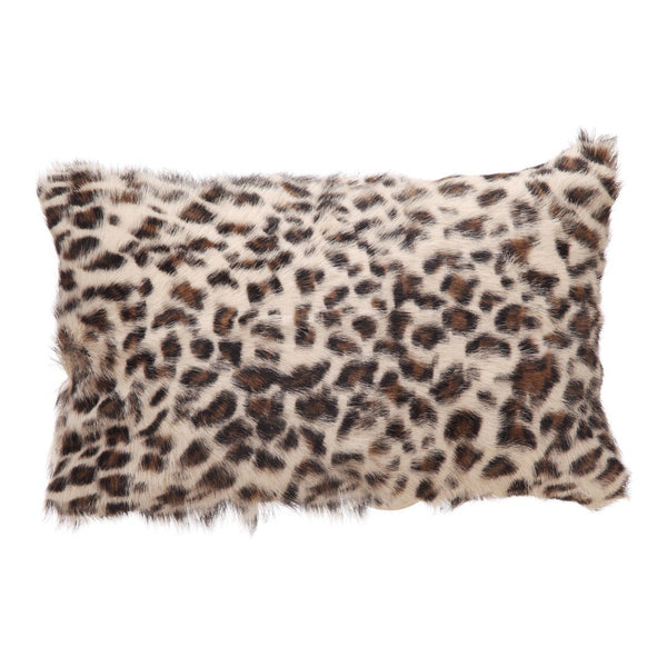 Goat Fur Bolster Spotted Brown Leopard