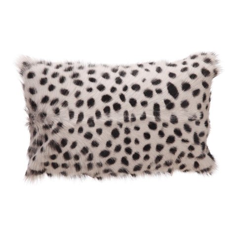 Goat Fur Bolster Spotted Light Grey