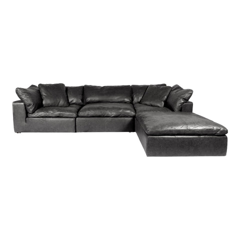 Clay Lounge Modular Sectional Nubuck Leather Black
