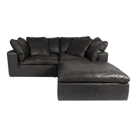 Clay Nook Modular Sectional Nubuck Leather Black