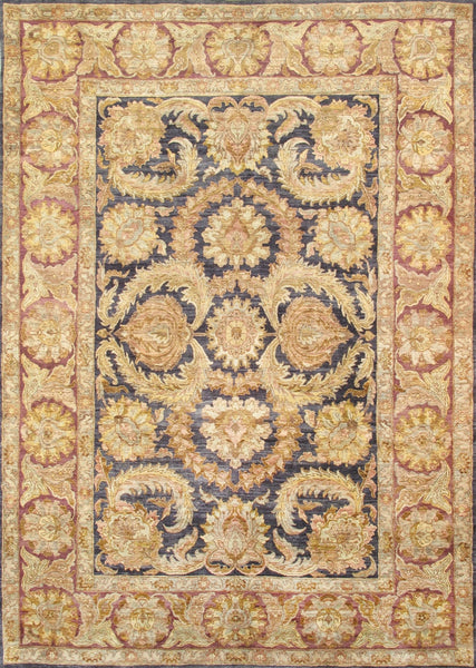 Hand-Knotted Black/Gold Lamb's Wool Rug