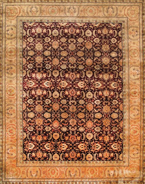 Hand-Knotted Burgundy Color Agra Area Rug