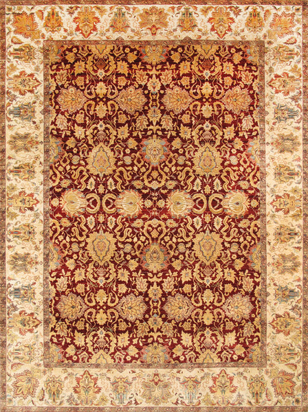 Hand-Knotted Agra Red/Ivory Wool Area Rug