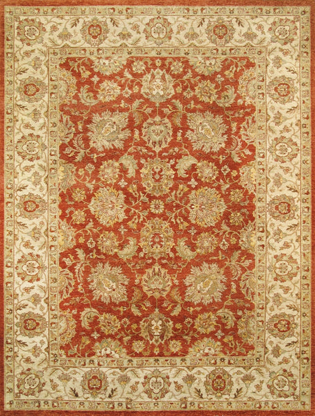 Hand-Knotted Red Agra Wool Area Rug