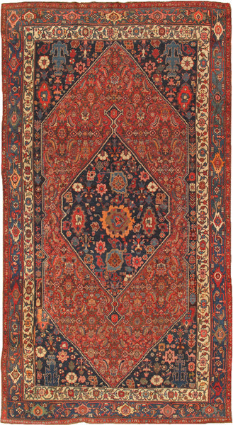 Hand-Knotted Rust/Navy Bidjar Wool Area Rug