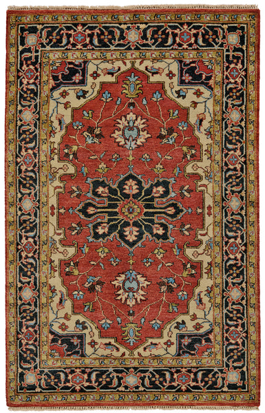 Alden Red/Black Hand Knotted Area Rug